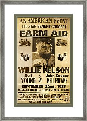 Vintage Willie Nelson 1985 Farm Aid Poster Framed Print by John Stephens