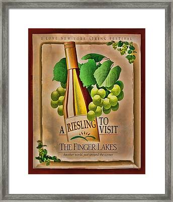Vintage Wine Poster Framed Print by Linda Phelps