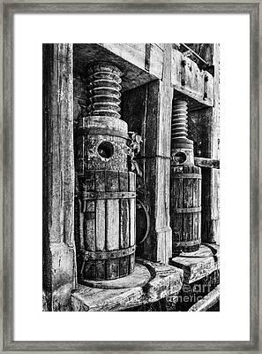 Vintage Wine Press Bw Framed Print