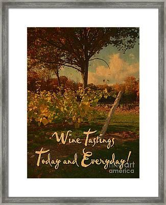 Vintage Wine Tasting Poster Framed Print