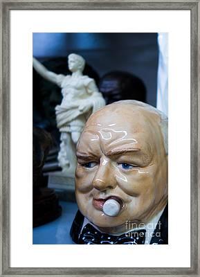 Vintage Winston Churchill Ceramic Head Framed Print by Amy Cicconi
