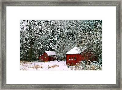 Vintage Winter Barn  Framed Print