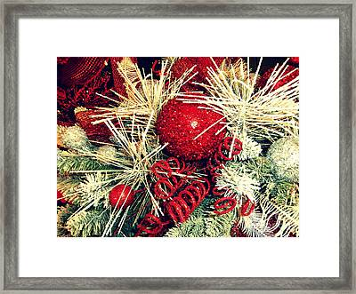 Vintage Winter Red  Framed Print by Janine Riley
