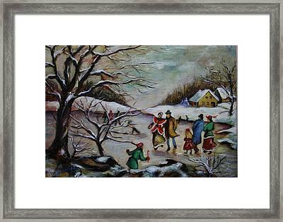 Vintage Winter Scene/skating Away Framed Print by Melinda Saminski
