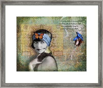 Vintage Woman Birds And Butterfly Framed Print