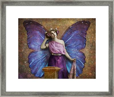 Vintage Woman With Butterfly Wings Framed Print by Cat Whipple
