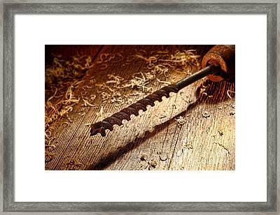 Vintage Wood Drill Framed Print by Olivier Le Queinec