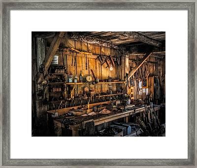 Vintage Woodworkers Bench Framed Print