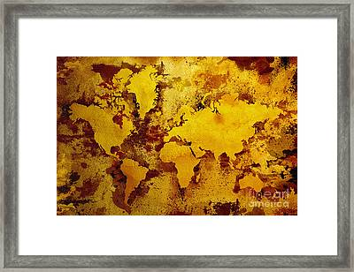 Vintage World Map Framed Print by Zaira Dzhaubaeva