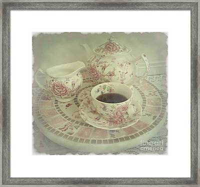 Vintage Worn Rose Chintz And Susan Framed Print by Margaret Newcomb