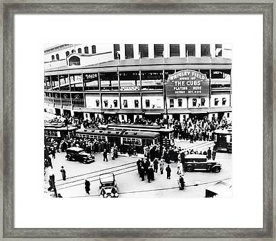 Vintage Wrigley Field Framed Print by Bill Cannon