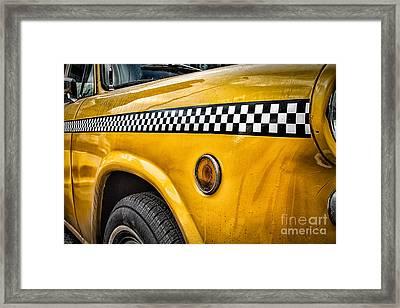Vintage Yellow Cab Framed Print by John Farnan