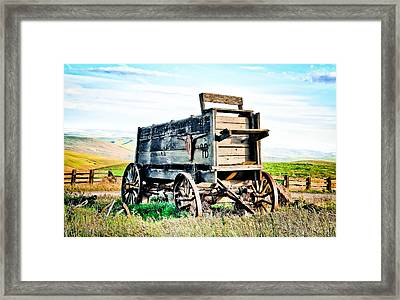 Vintaged Covered Wagon Framed Print by Athena Mckinzie