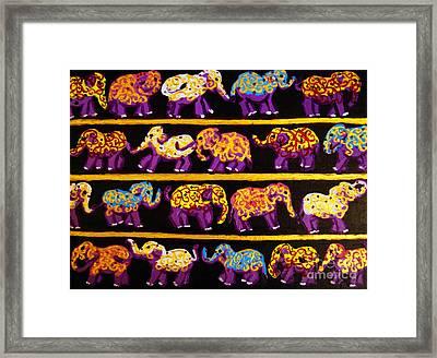 Violet Elephants Framed Print
