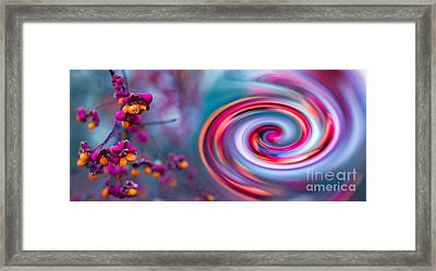 Violet Fall Blossom Collage Framed Print by Hannes Cmarits