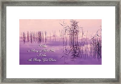 Violet Fire Mantra Words Framed Print by Jenny Rainbow