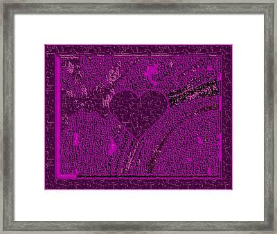 Violet Indigo Magenta Valentine Carved In Stone Iv Framed Print