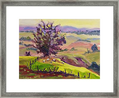Violet Mountains At Sunrise Framed Print