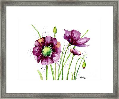 Violet Poppies Framed Print by Annie Troe