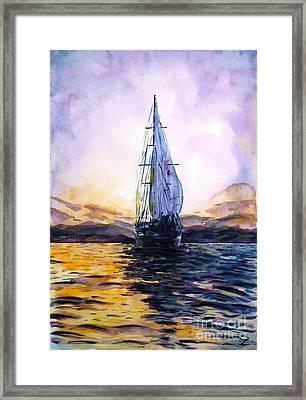Violet Sunset Framed Print by Zaira Dzhaubaeva