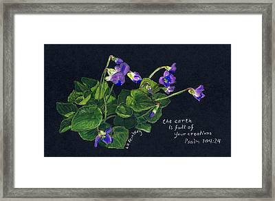 Violets And Psalm 104 Framed Print