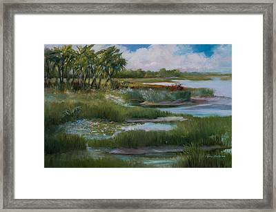 Violets Spring In The Marsh Framed Print by Jane Woodward