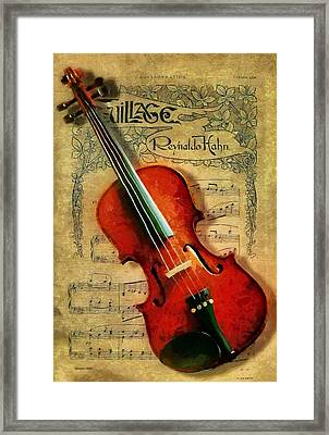 Framed Print featuring the painting Violin And Notes by Kai Saarto