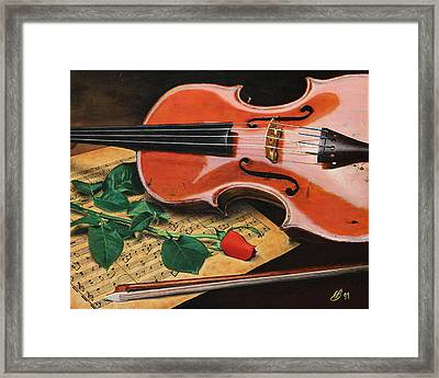 Violin And Rose Framed Print by Glenn Beasley