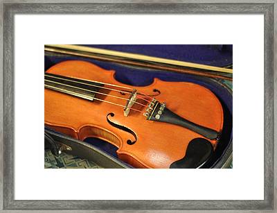 Violin At Rest Old Fiddle With Bow Framed Print by Rebecca Brittain
