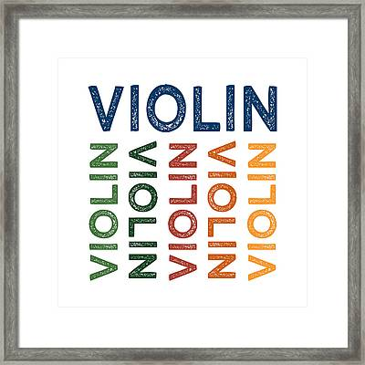 Violin Cute Colorful Framed Print by Flo Karp