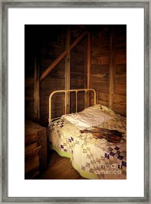 Violin On Bed Framed Print by Jill Battaglia
