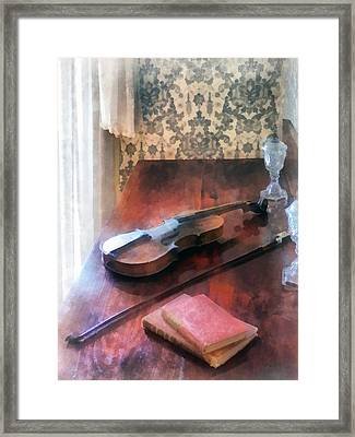 Violin On Credenza Framed Print
