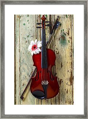 Violin On Old Door Framed Print by Garry Gay