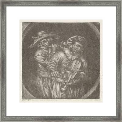 Violin Player And Flutist, Jan Van Somer Framed Print