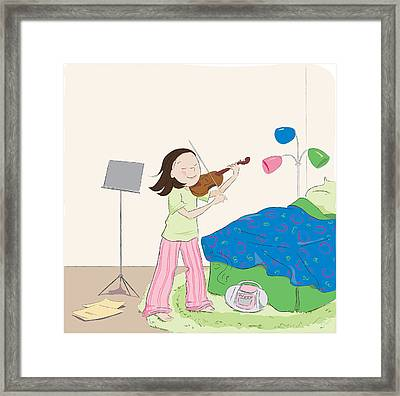 Violin Practice Framed Print by Monette Pangan