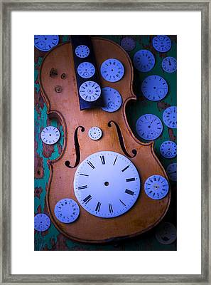 Violin With Watch Faces Framed Print by Garry Gay