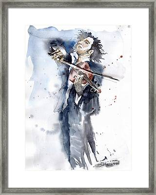 Violine Player 1 Framed Print by Yuriy  Shevchuk