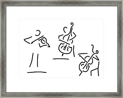 Violinist Cellist String Player Contrabass Framed Print by Lineamentum