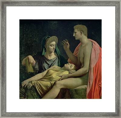 Virgil 70-19 Bc Reading The Aeneid To Livia, Octavia And Augustus, 1819 Oil On Canvas Framed Print by Jean Auguste Dominique Ingres