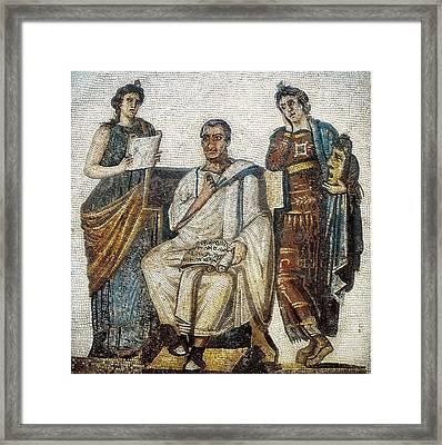 Virgil And The Muses. 3rd C. Roman Art Framed Print