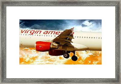 Framed Print featuring the photograph Virgin America A320 by Aaron Berg
