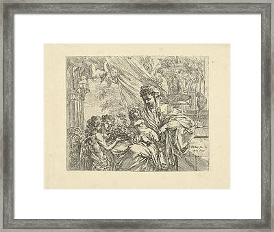 Virgin And Child Adored By Angels, Godfried Maes Framed Print by Quint Lox