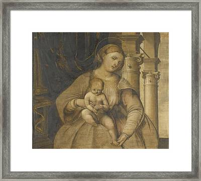 Virgin And Child, Circle Of Pordenone Framed Print