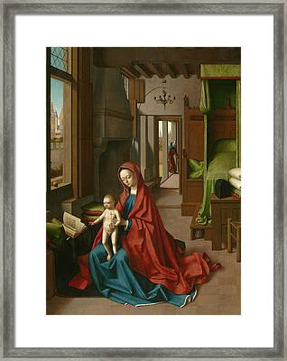 Virgin And Child In A Domestic Interior Framed Print by Petrus Christus