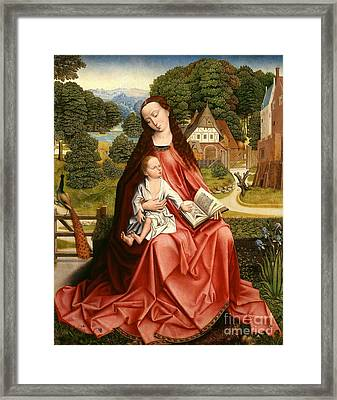 Virgin And Child In A Landscape Framed Print by Master of the Embroidered Foliage