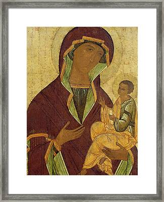 Virgin And Child Framed Print by Russian School