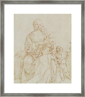 Virgin And Child With Infant St John Framed Print by Albrecht Durer or Duerer