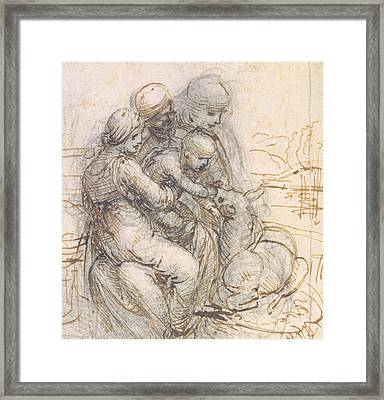 Virgin And Child With St. Anne Framed Print by Leonardo da Vinci