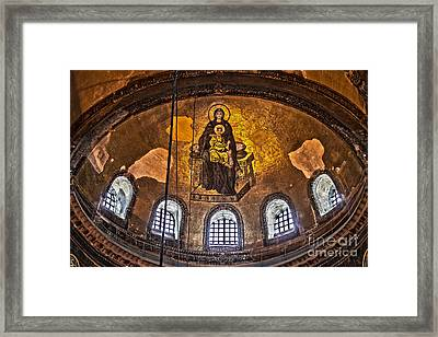 Virgin Mary And Child Mosaic At The Hagia Sophia Framed Print