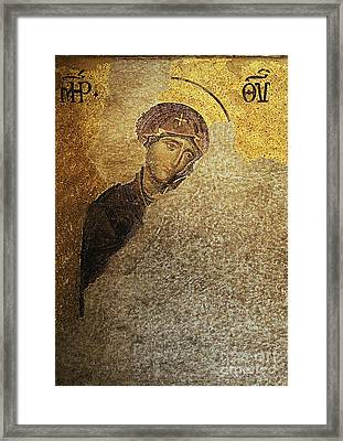 Virgin Mary-detail Of Deesis Mosaic  Hagia Sophia-day Of Judgement Framed Print